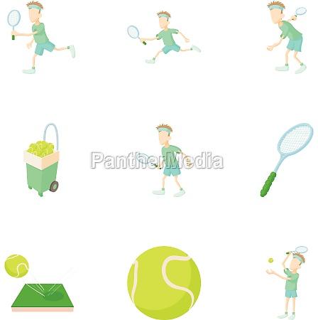 play in tennis icons set cartoon