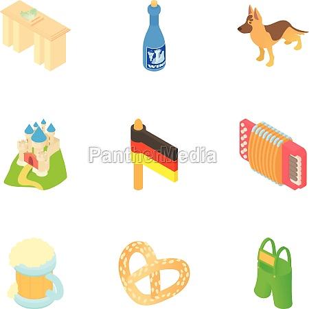 holiday in germany icons set cartoon