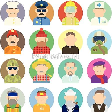 profession icons set flat style