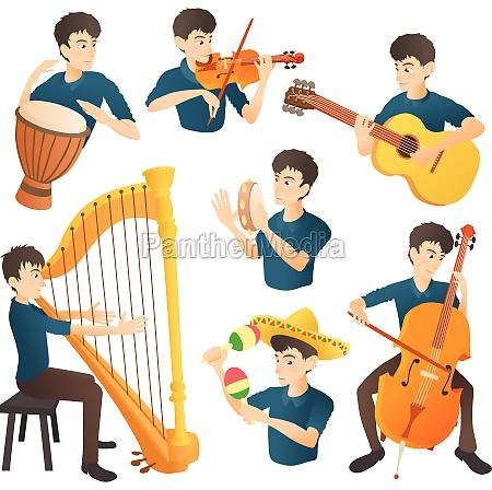 musician concept set cartoon style