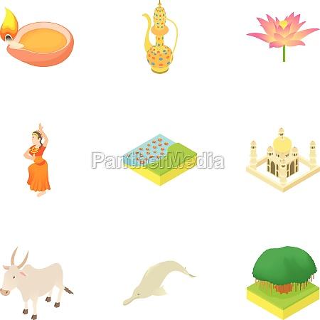 tourism in india icons set cartoon