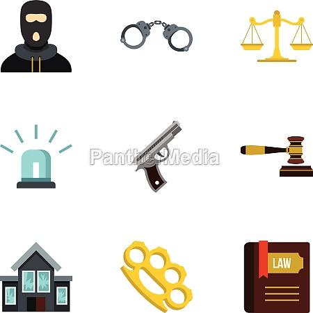 crime icons set flat style