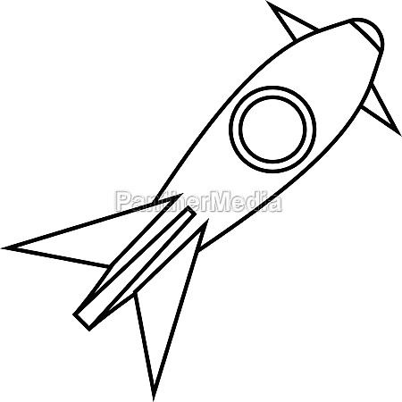 rocket takes off icon outline style