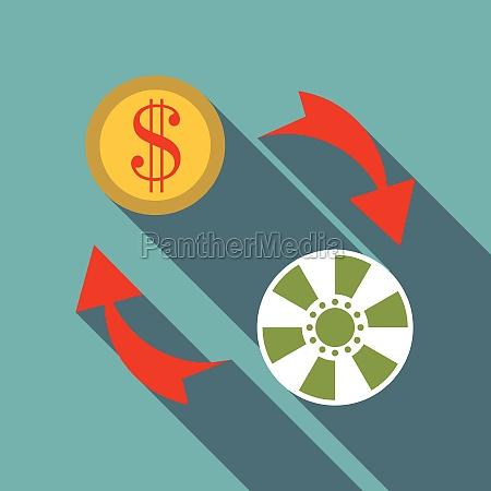 exchange chip to dollar icon flat