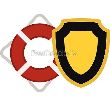 lifebuoy and shield icon flat style