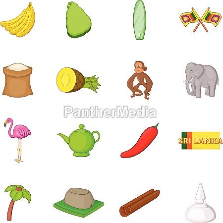 sri lanka travel icons set cartoon