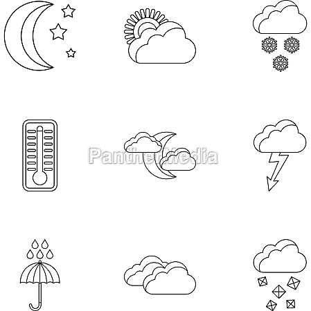 weather forecast icons set outline style