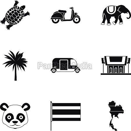 holiday in thailand icons set simple