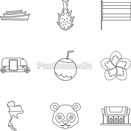 tourism in thailand icons set outline