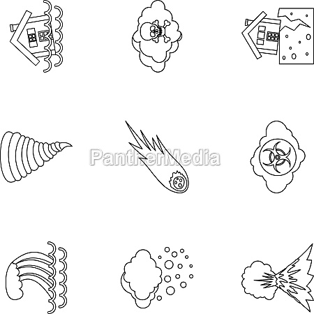 natural emergency icons set outline style