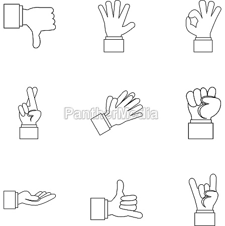 fingers icons set outline style