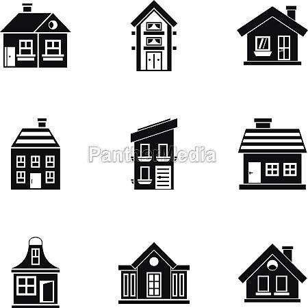 habitation icons set simple style