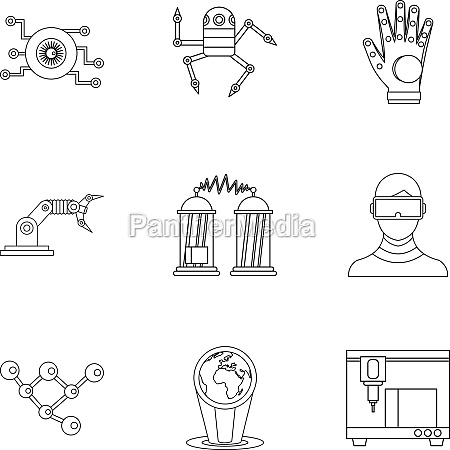 innovative device icons set outline style