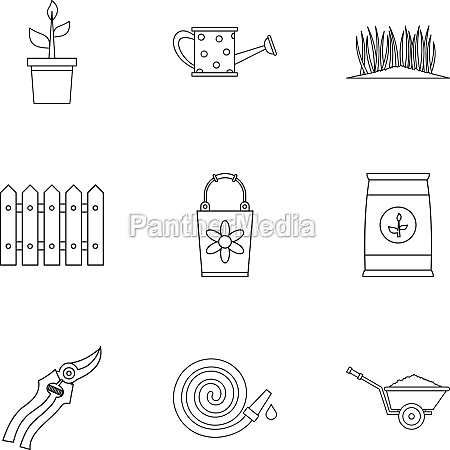 agriculture icons set outline style