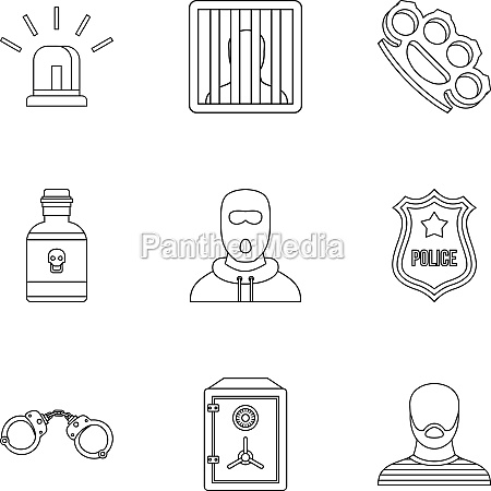 lawlessness icons set outline style