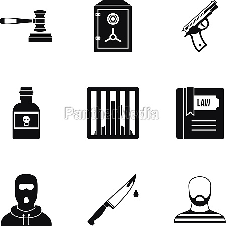 crime icons set simple style