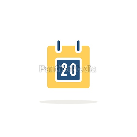 calendar diary date icon with shadow