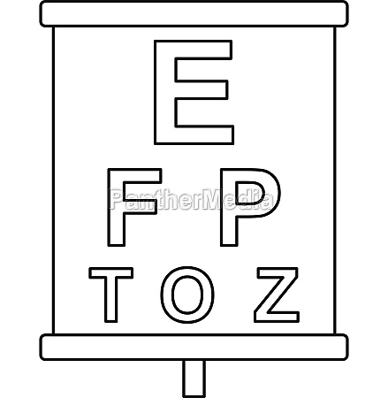 placard with letters eyesight testing icon