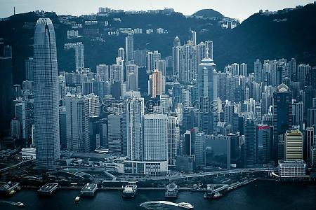 hong kong skyline visible from the