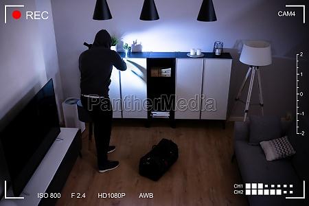 cctv video surveillance camera showing intruder