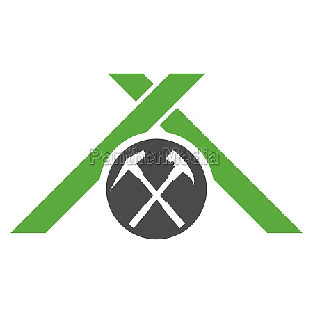 roof and tools house roofer logo