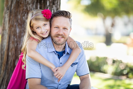 young caucasian father and daughter portrait