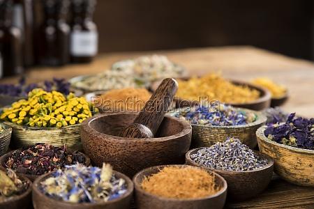 natural medicine and mortar healing herbs