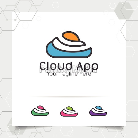 abstract cloud logo vector design with