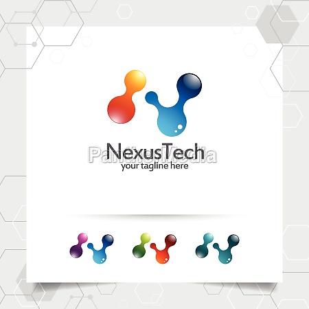 digital logo letter n design vector