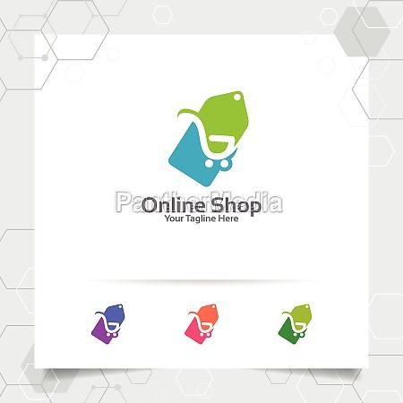 shopping logo design vector concept of