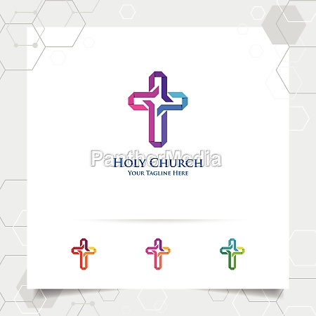 christian cross logo design with the