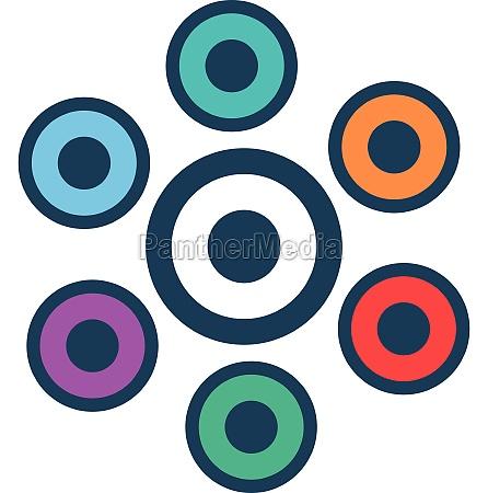 little circles icon flat style