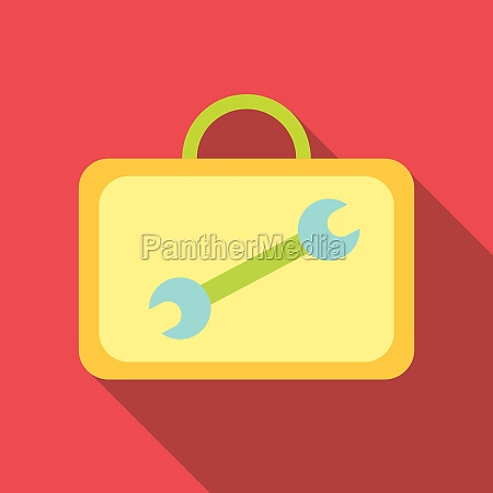 suitcase with tools icon flat style