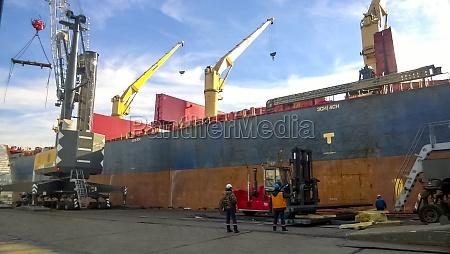 industrial landscape of developed seaport infrastructure