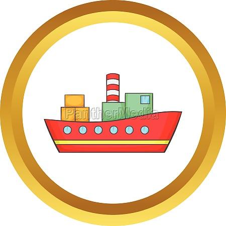 red cargo ship vector icon