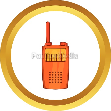 orange portable handheld radio vector icon