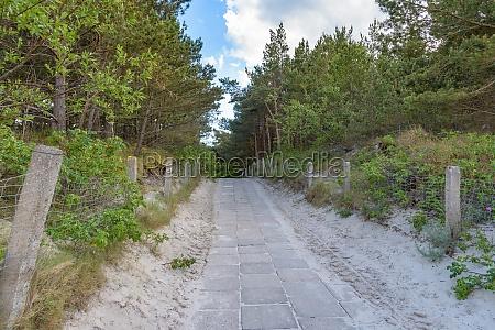 paved beach entrance at baltic sea