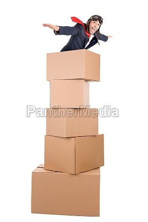 flying businessman