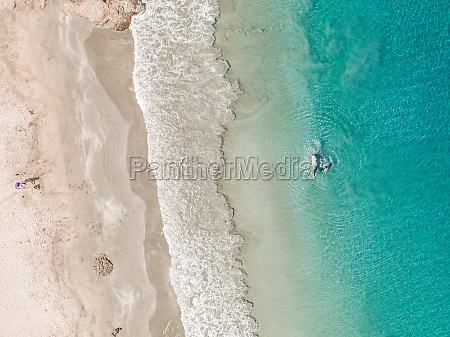 aerial view of person swimming with