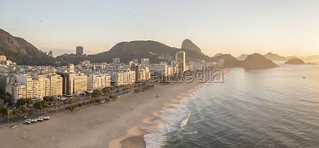panoramic aerial view of copacabana beachfront