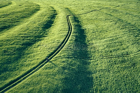 aerial view of winding landscape of