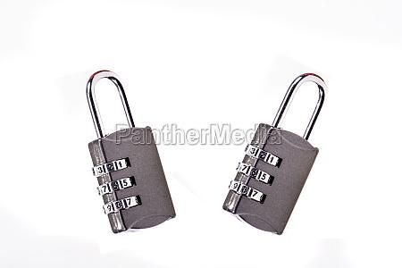 two padlocks in closeup