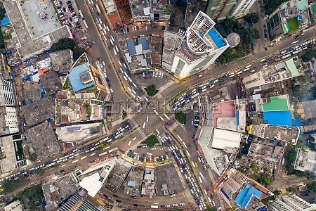 aerial view of a busy roundabout