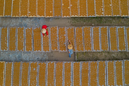 aerial view of two people working