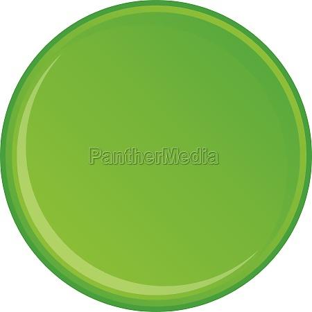 green round button icon cartoon style
