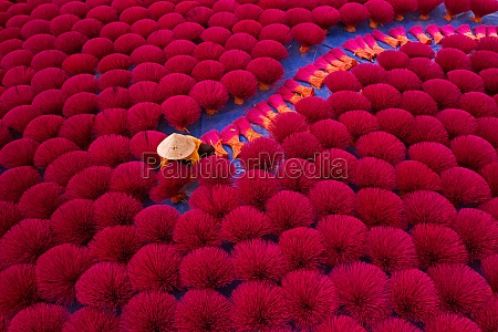 aerial view of incense workers sits