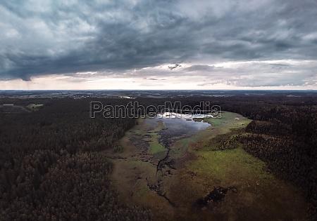 panoramic aerial view of juodle lake