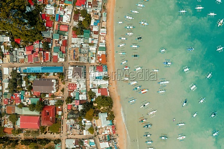 aerial view of outriggers moored in