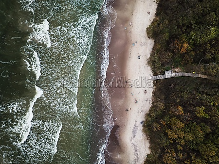 aerial view of baltic sea coast