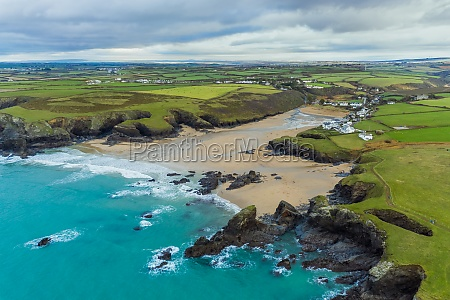 aerial view of porthcothan bay showing